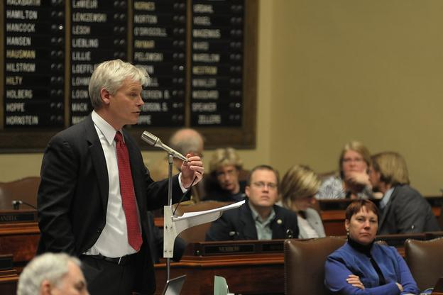 Paul Thissen speaks at microphone