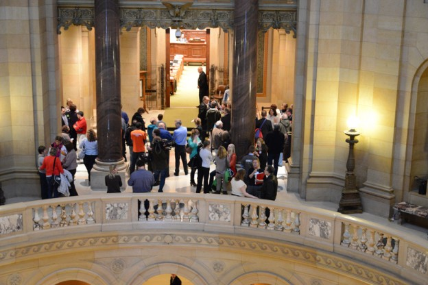 people waited outside the House Chamber