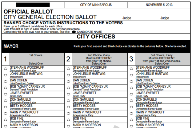 2013 Minneapolis Sample Ballot