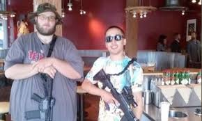 boys with guns at Chipotle