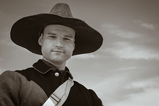 Jared Little as a soldier from the post-Civil War west.