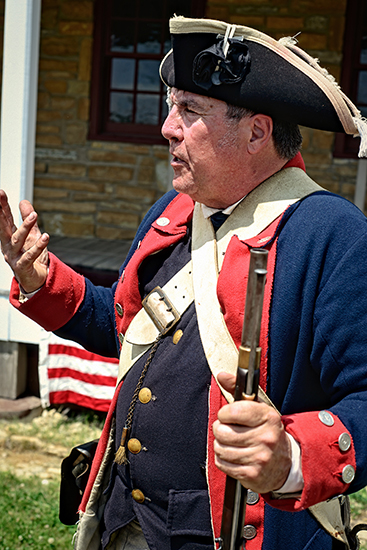 Spencer Johnson as a Revolutionary War soldier.